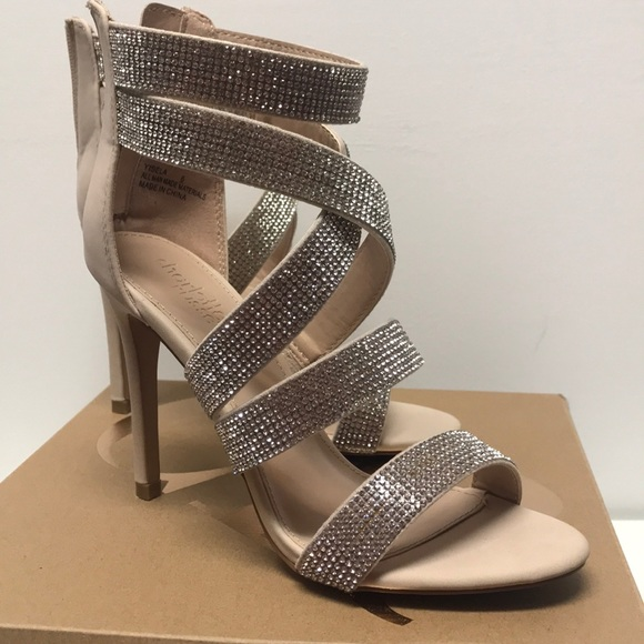 Charlotte Russe Shoes - Charlotte Russe Yisela Nude Rhinestone high heels